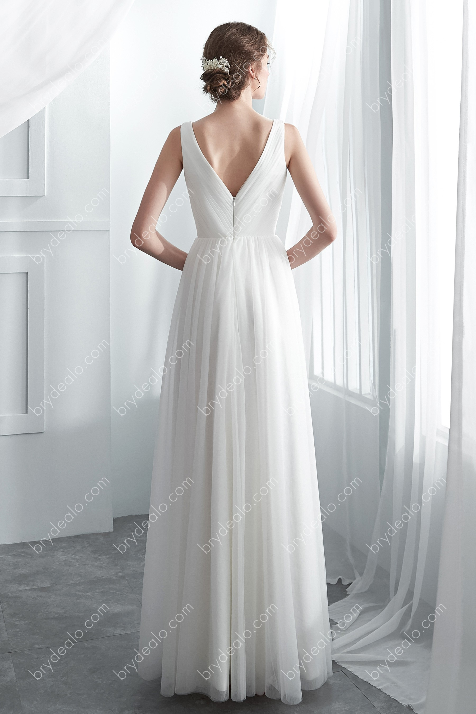 White Tulle Pleated V Neck A Line Romantic Wedding Gown