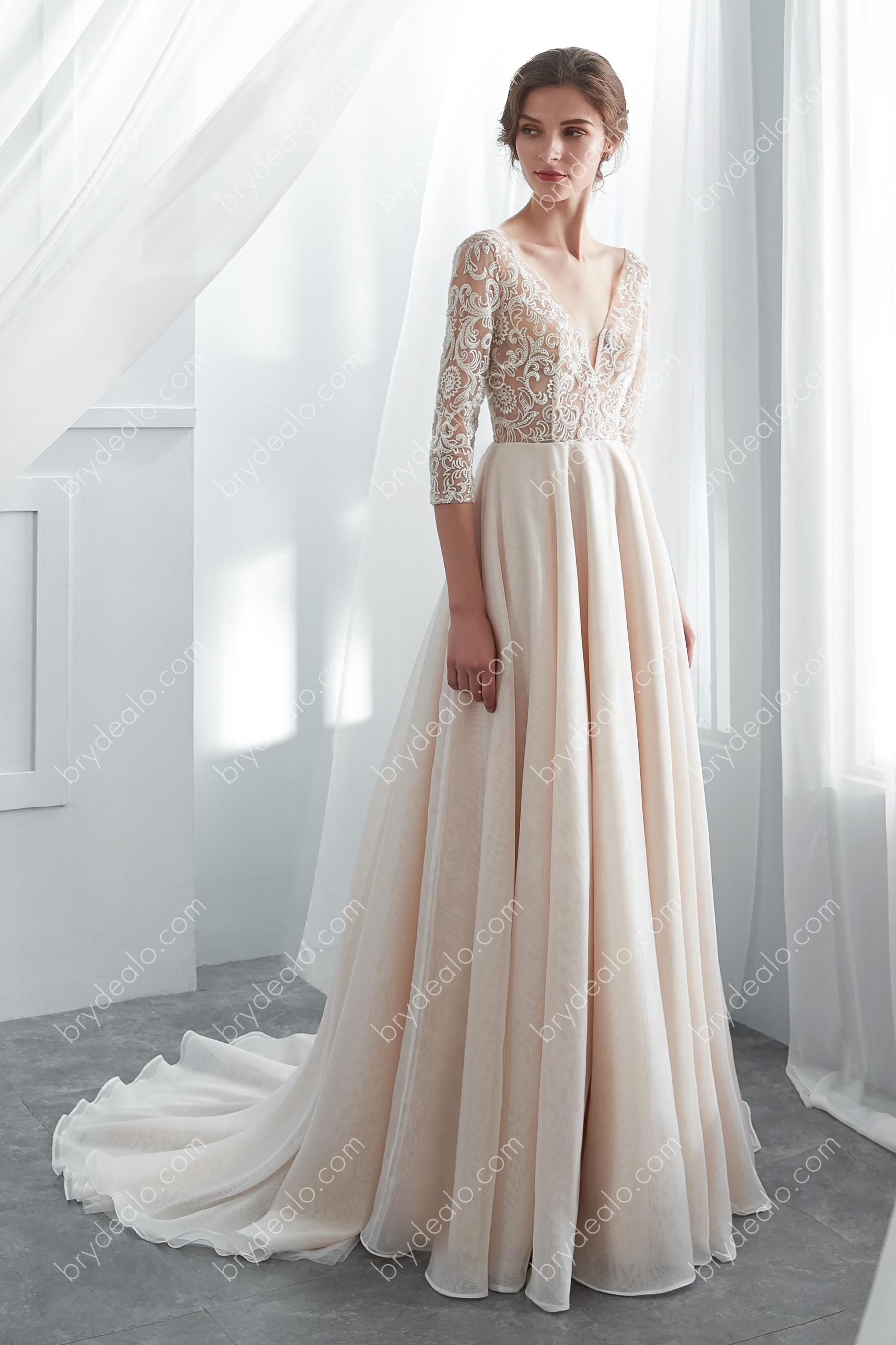 Champagne Illusion 34 Sleeve Long Beaded Lace Wedding Dress