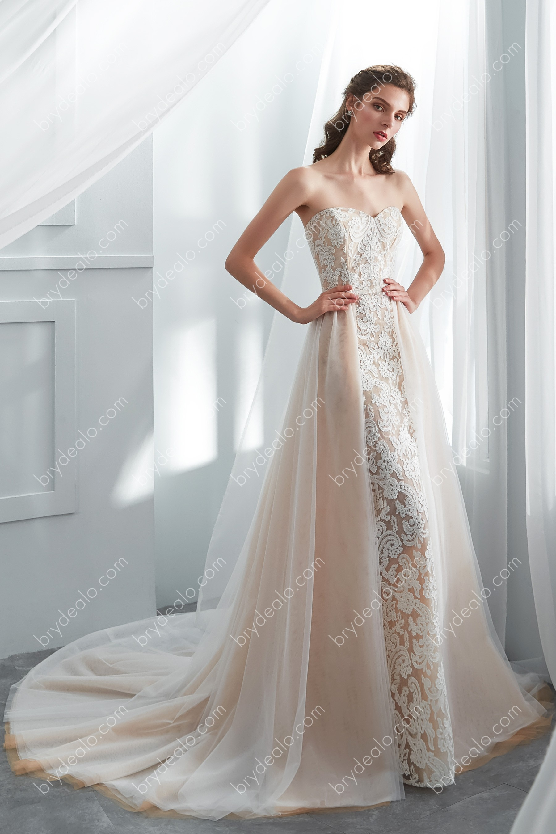 Lace Overskirt Mermaid Wedding Gown