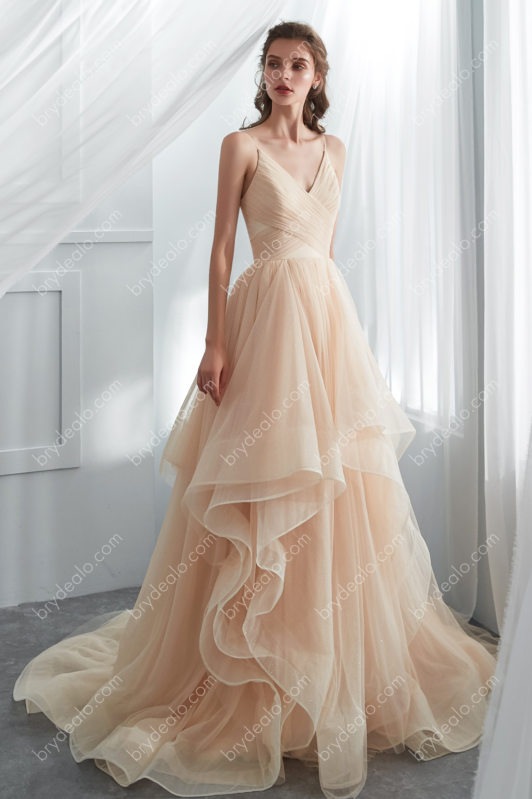 Shimmer Champagne Tulle Layered Wedding Ballgown