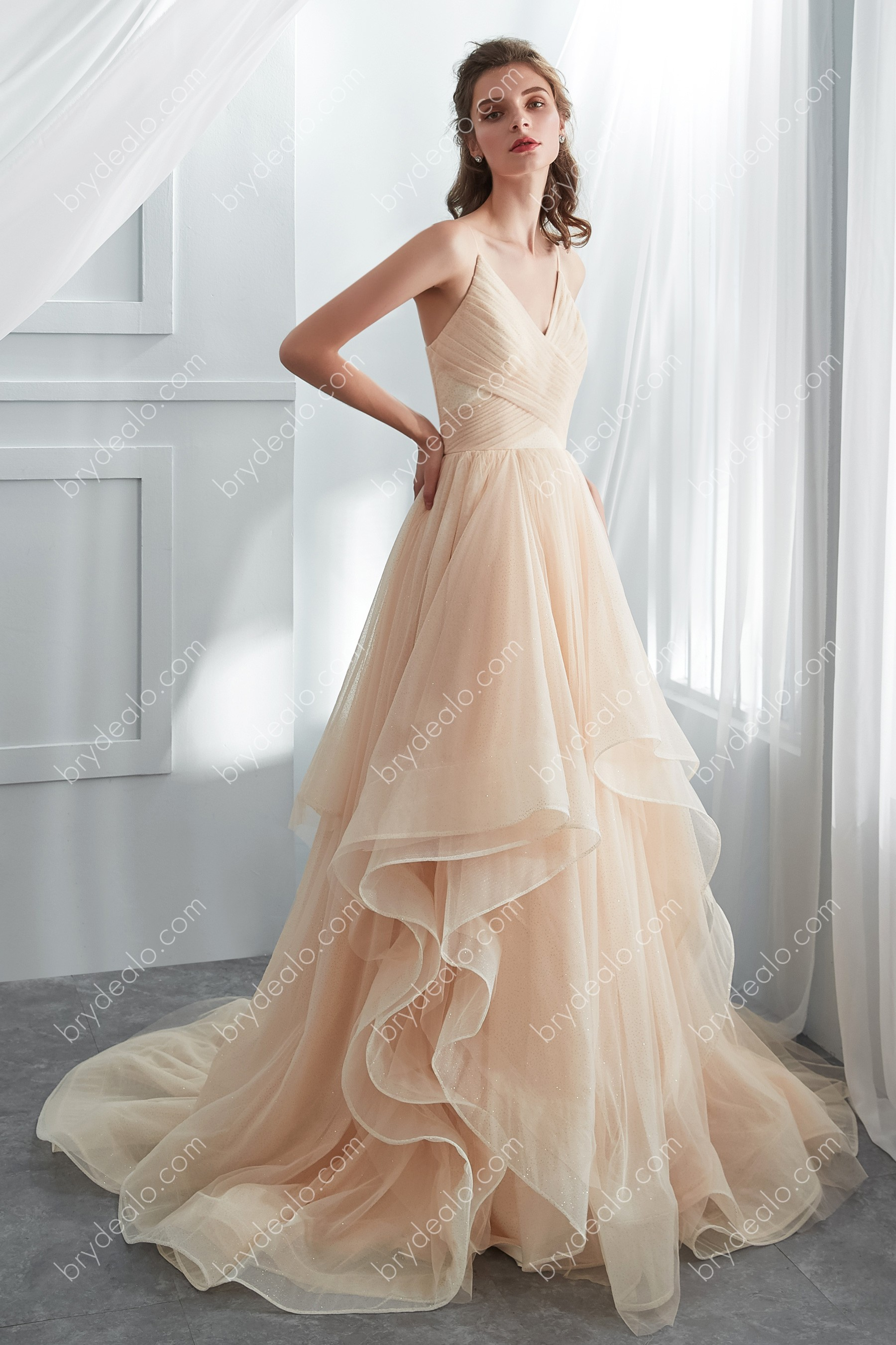 Designer Shimmer Champagne Tulle Layered Ballgown Wedding Dress
