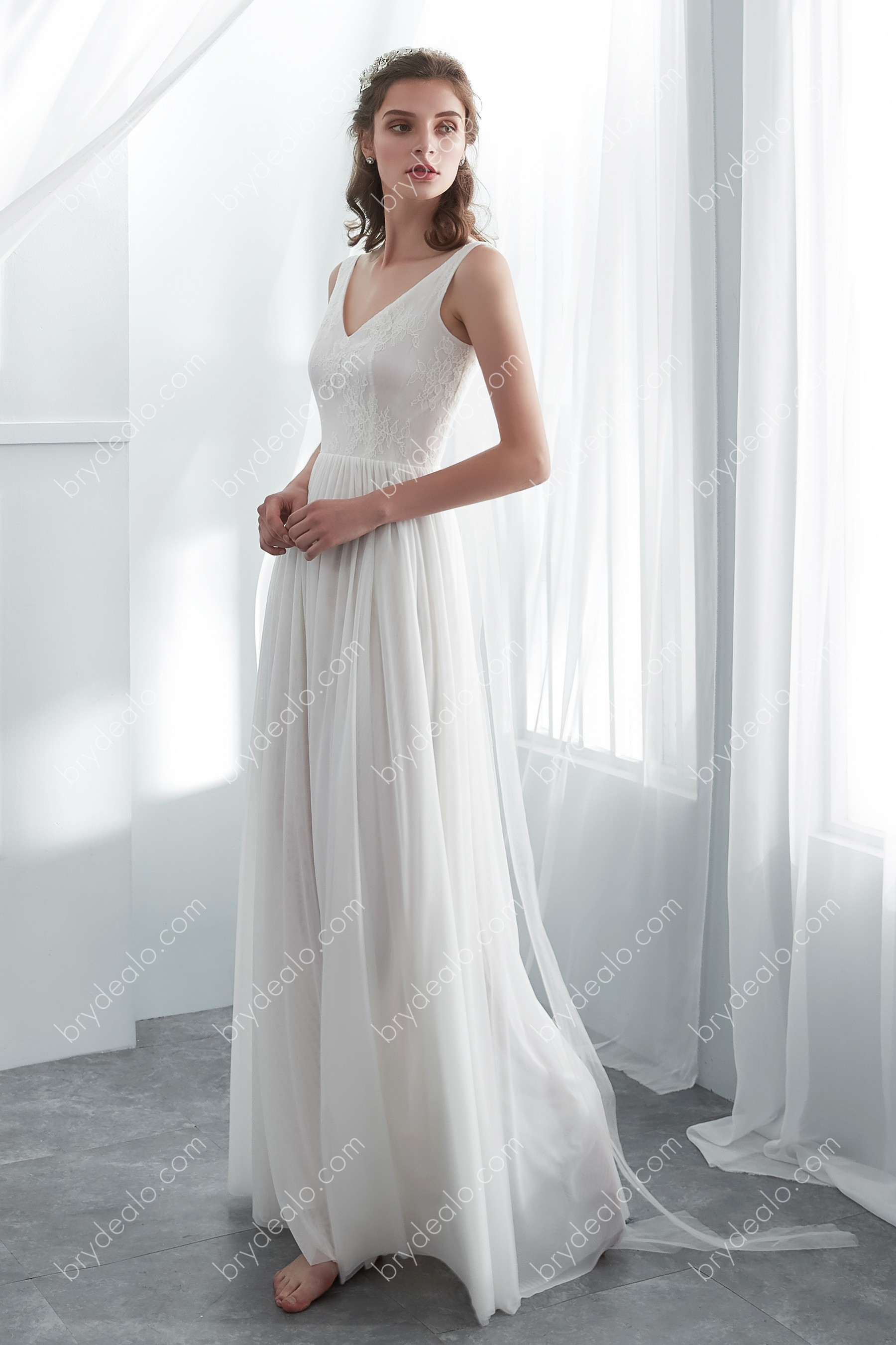 Simple Lace Draping Floor Length Wedding Dress