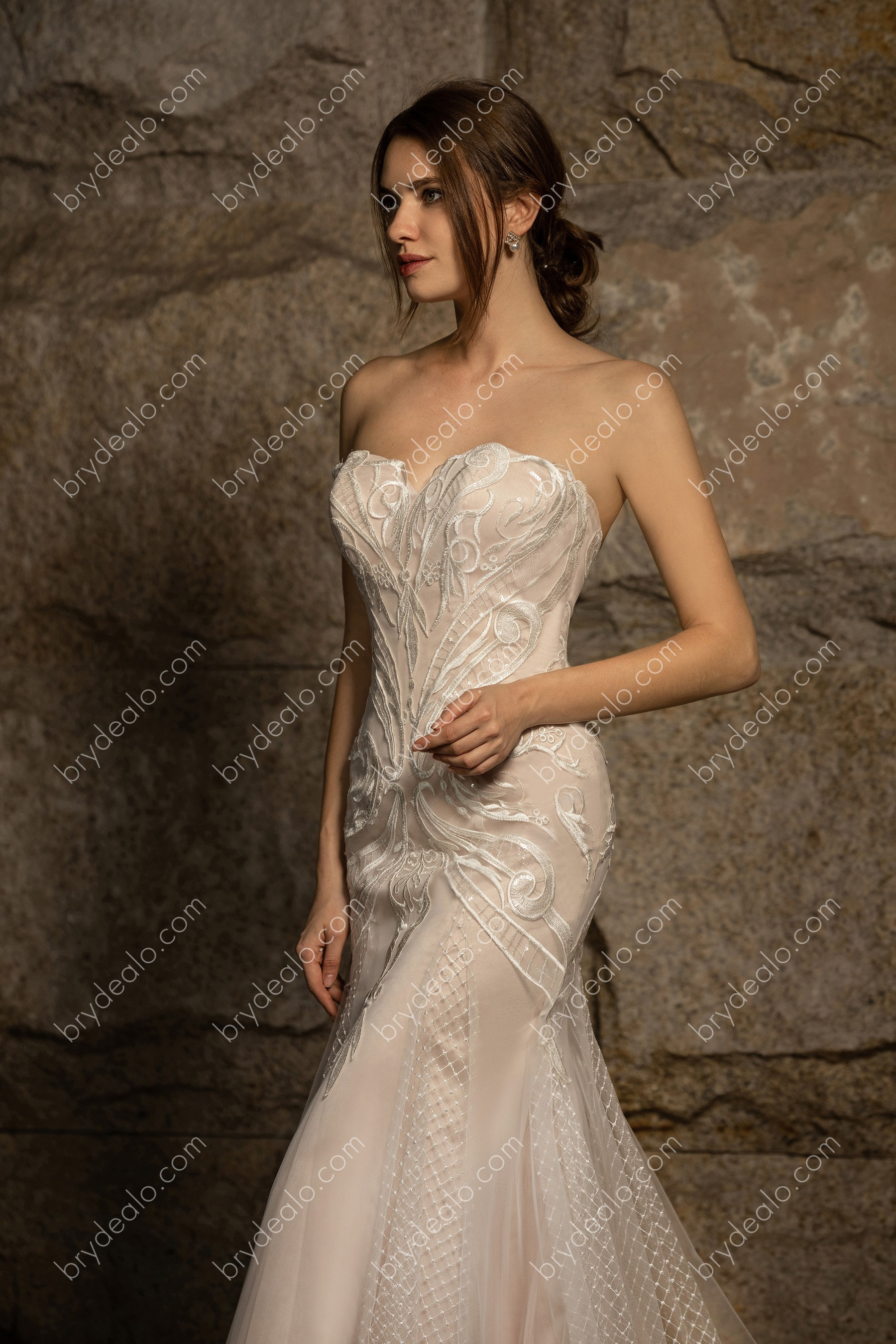 Strapless Sweetheart Lace Tulle Wedding Dress Brydealo