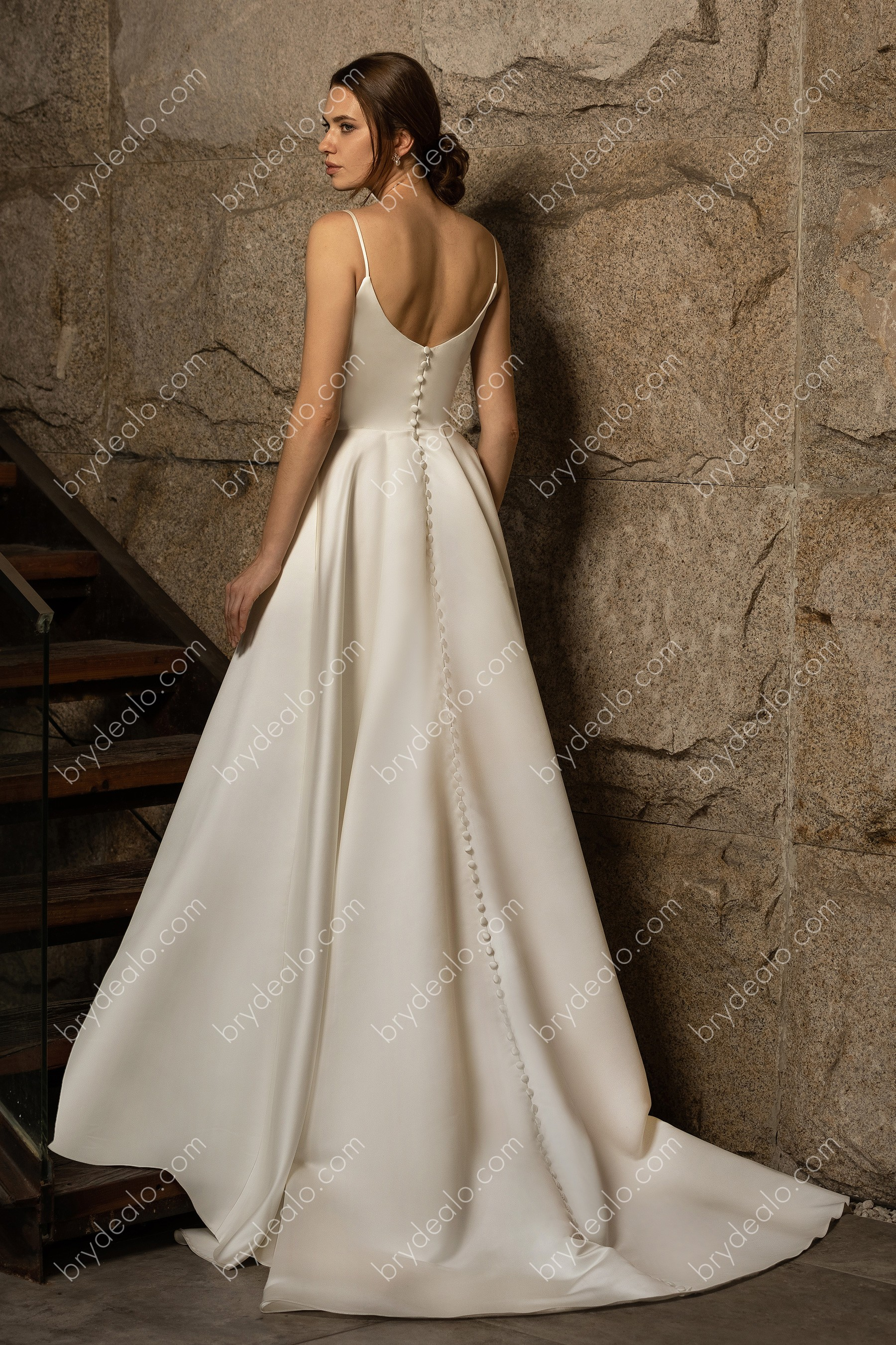 Clic Satin Spaghetti Strap Wedding Ball Gown With Pockets
