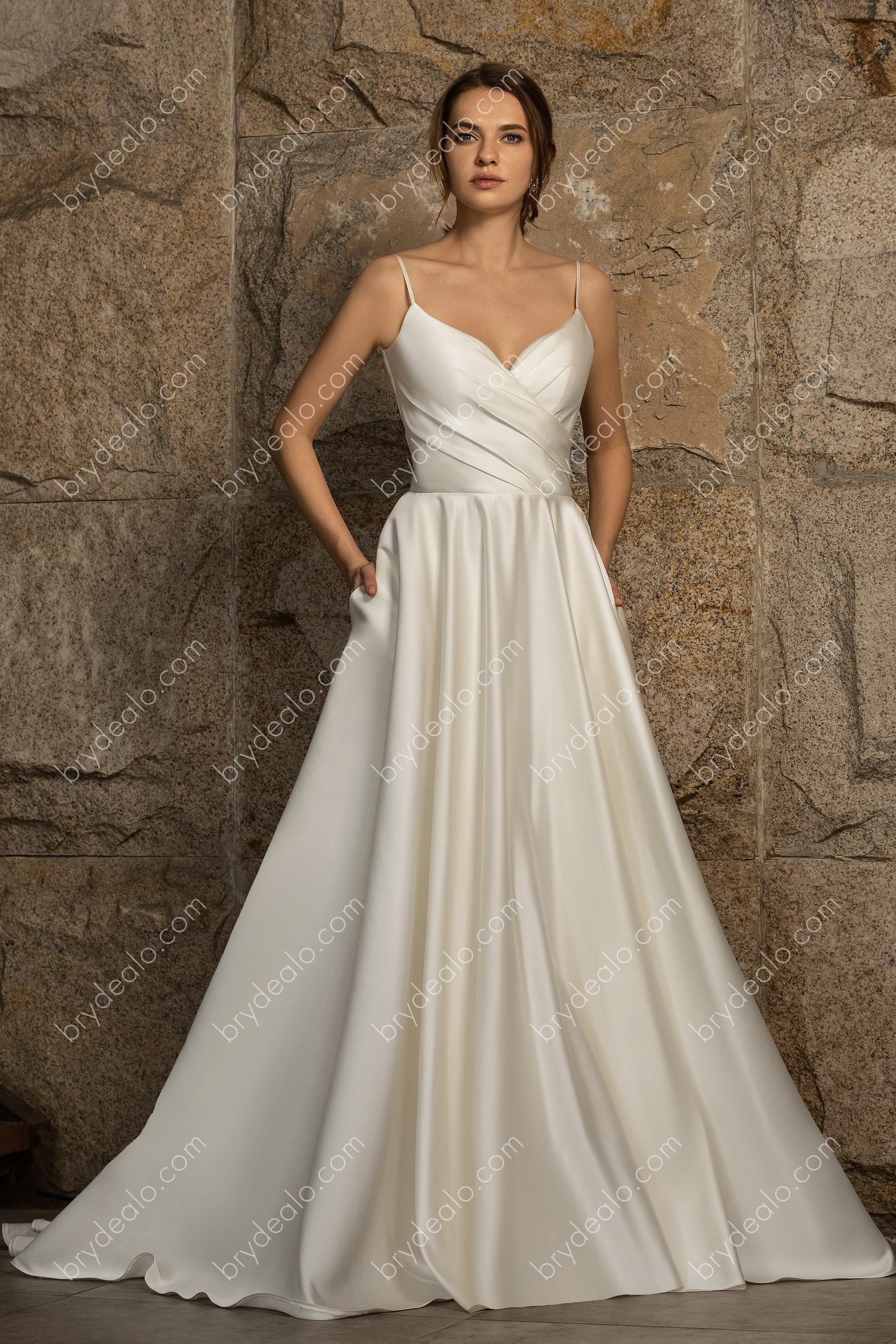 Classic Satin Spaghetti Strap Wedding Ball Gown With Pockets