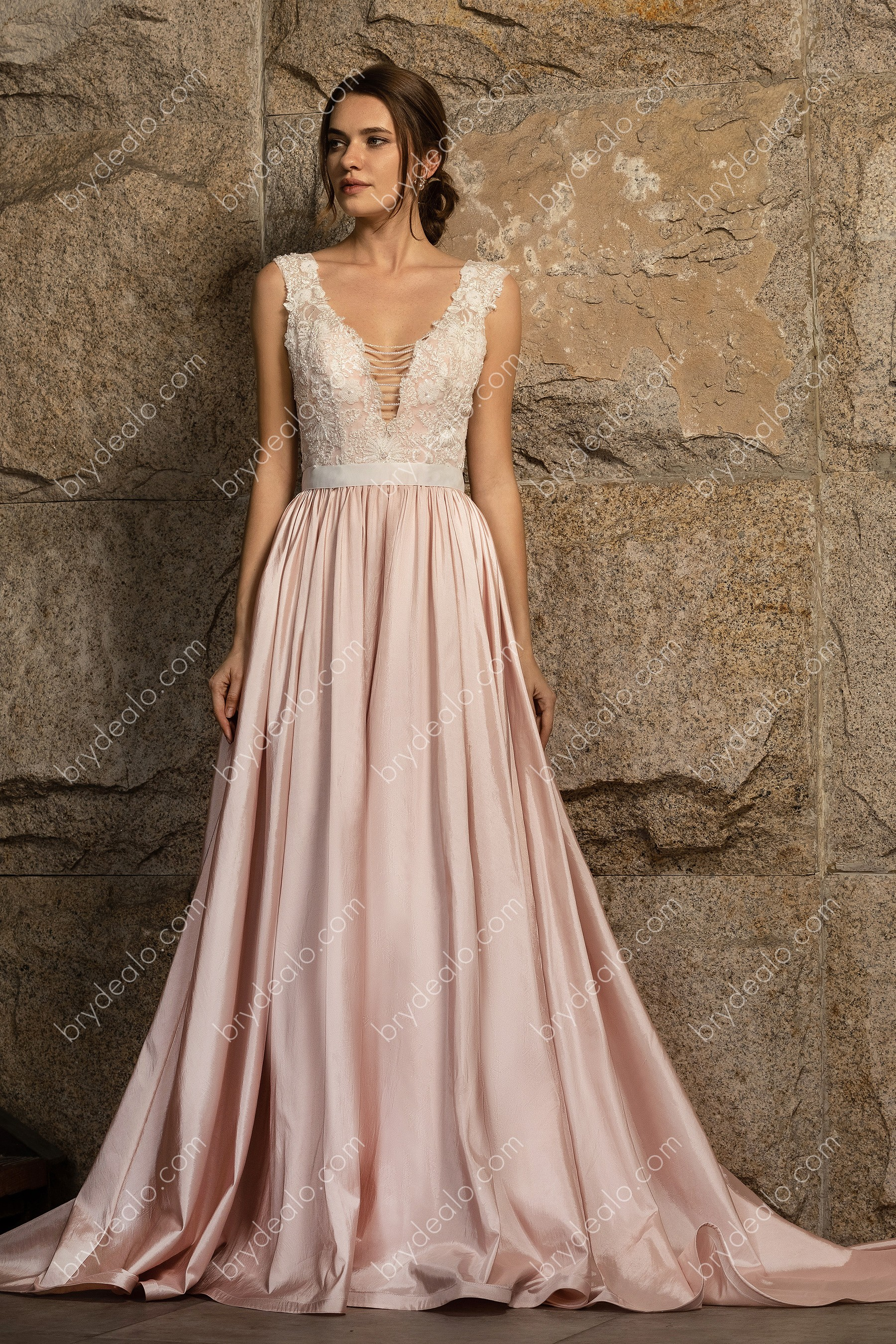 Lovely Pink Plunging V Neck Lace Taffeta Long A Line Wedding Dress