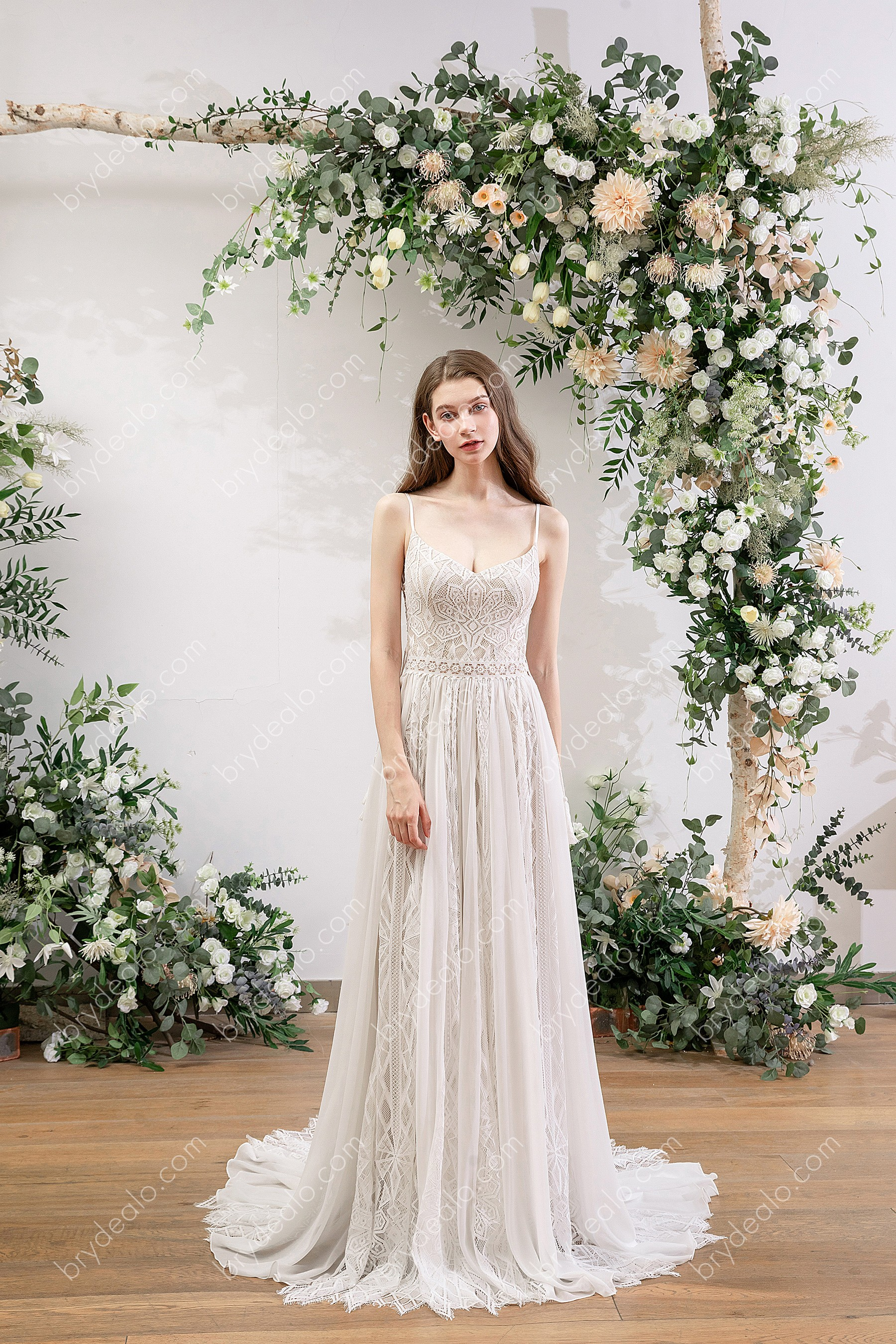 Flowy Spaghetti Strap Lace Boho Wedding Dress Brydealo