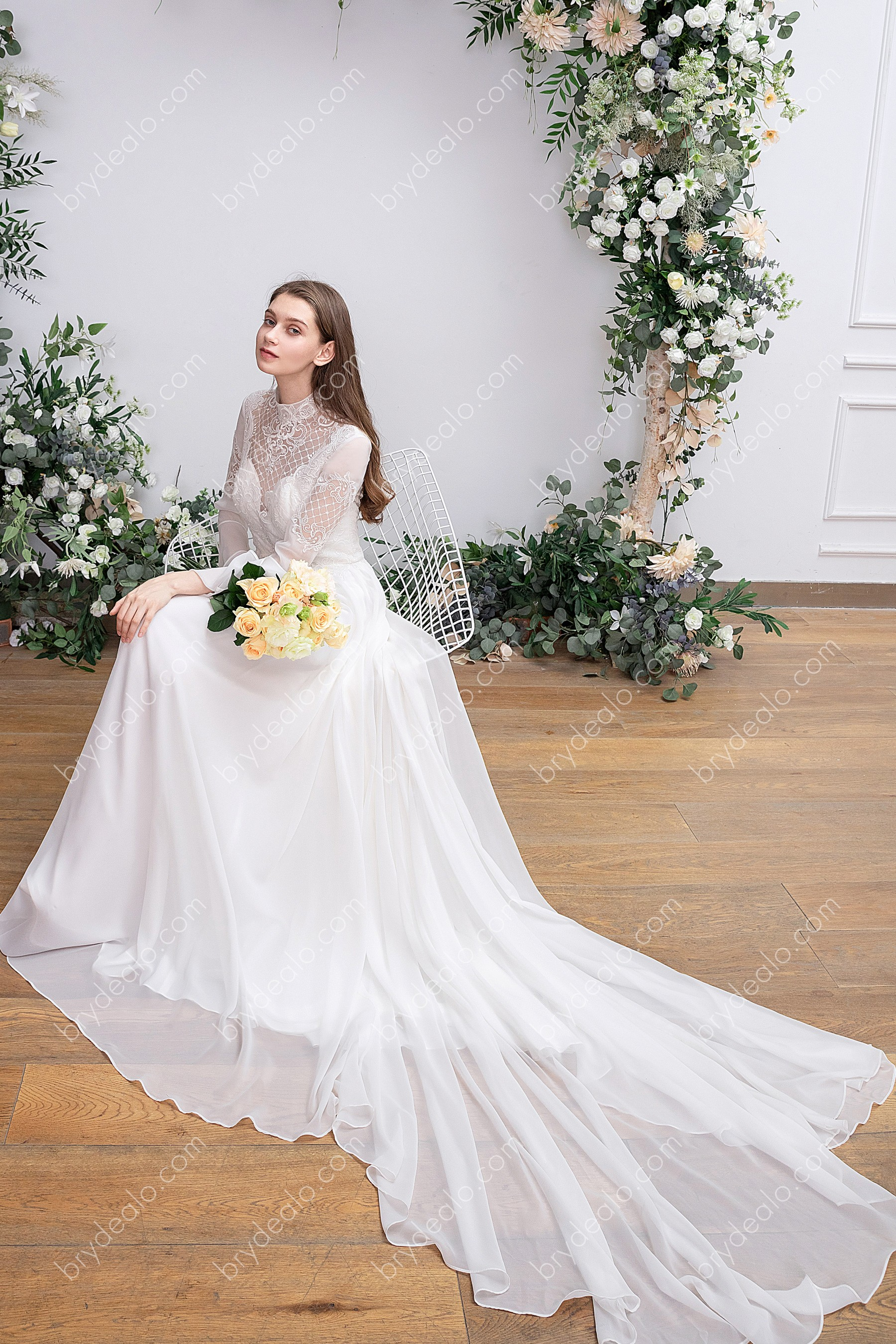 Long Bell Sleeve Flowy Boho Wedding Dress With High Neck