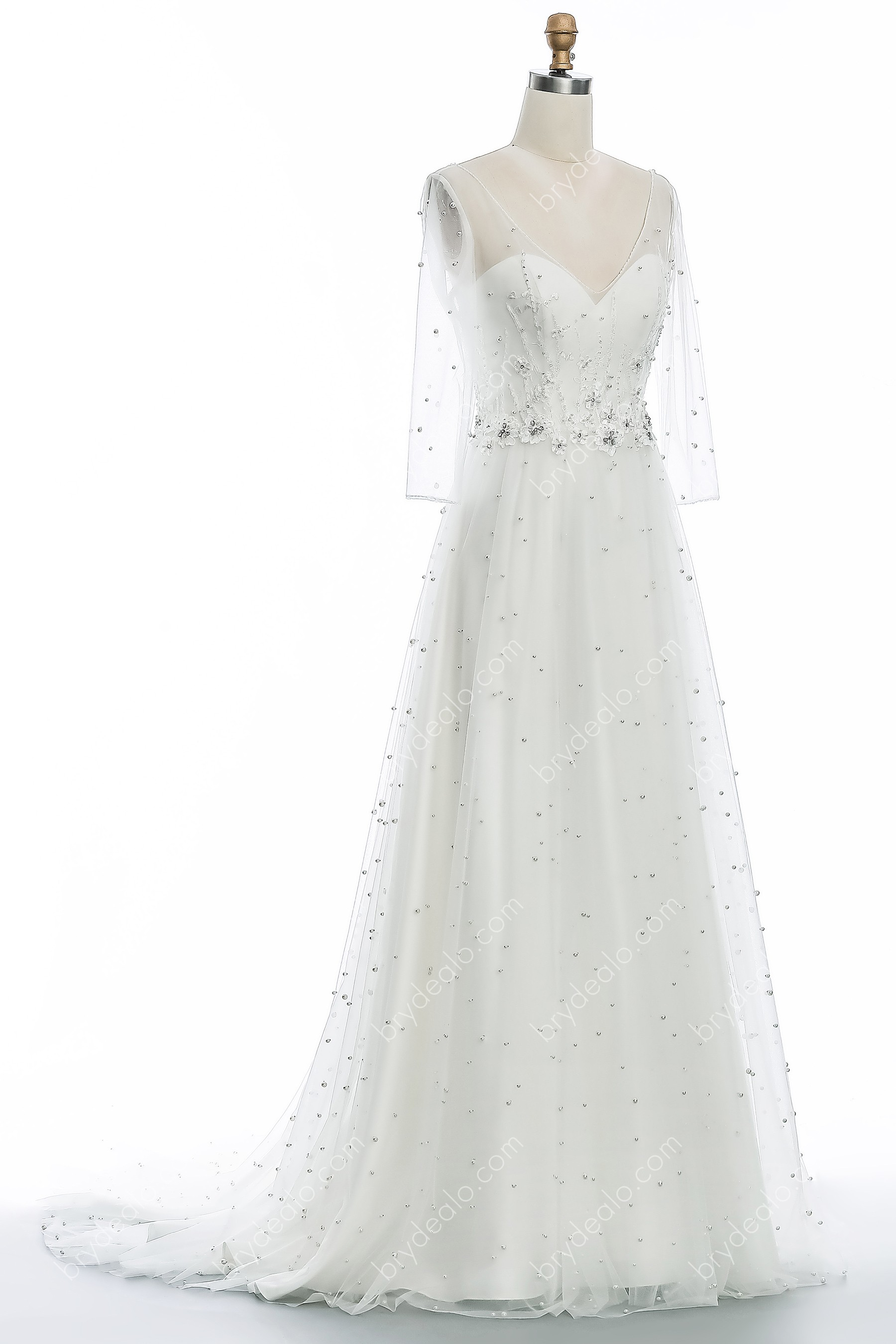 Illusion 3 4 Sleeve Pearl Lace Long A Line Wedding Dress