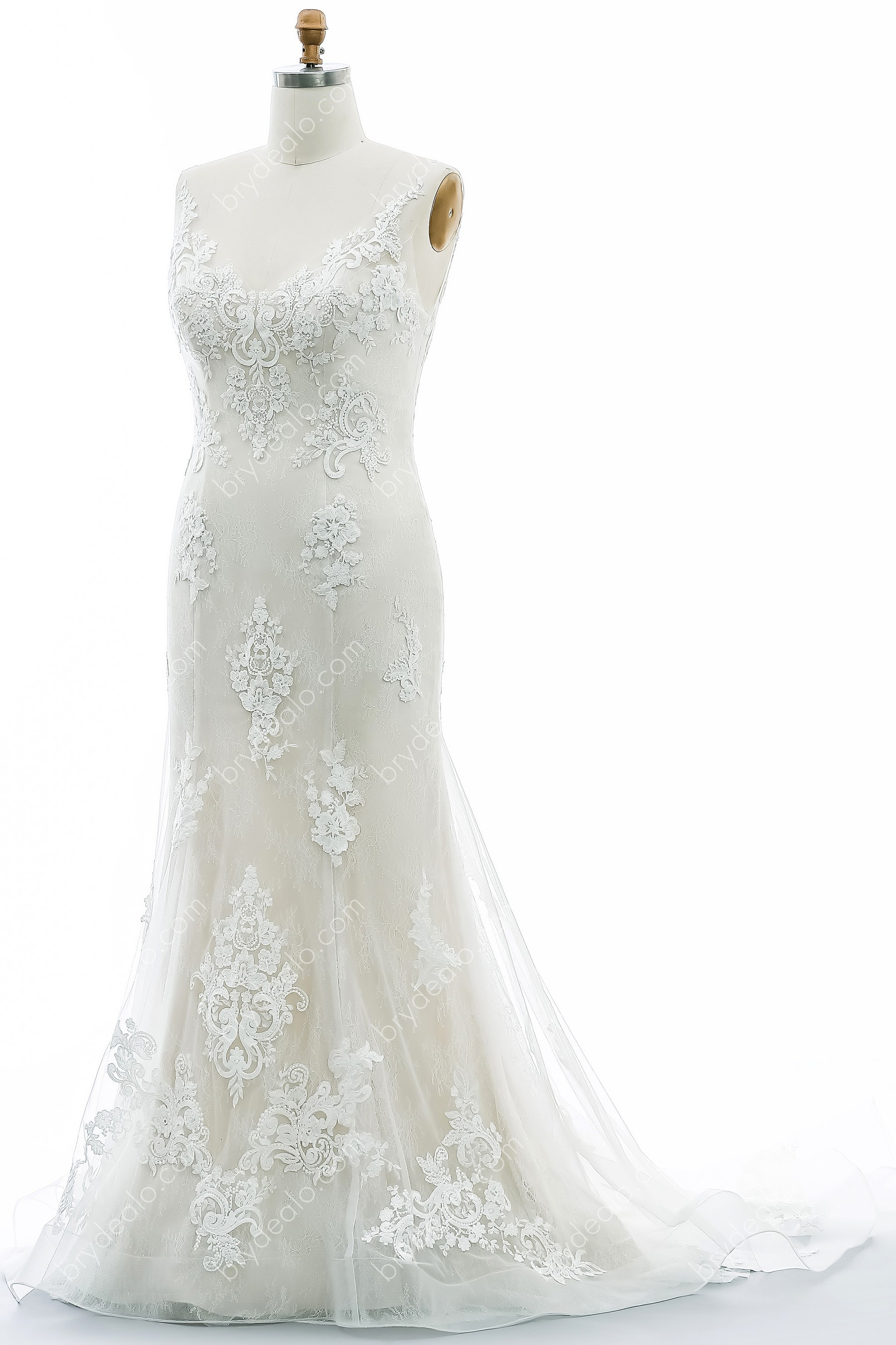 Champagne V-neck Plus Size Mermaid Bridal Gown