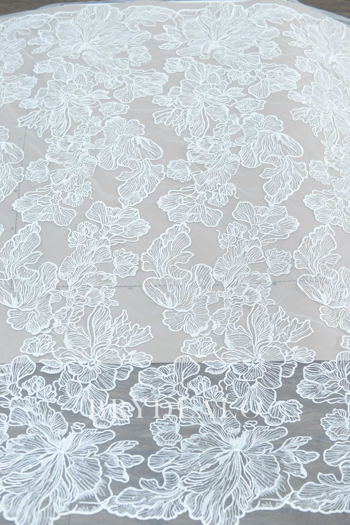 Gleaming Lotus Embroidered Bridal Lace Fabric Brydealo