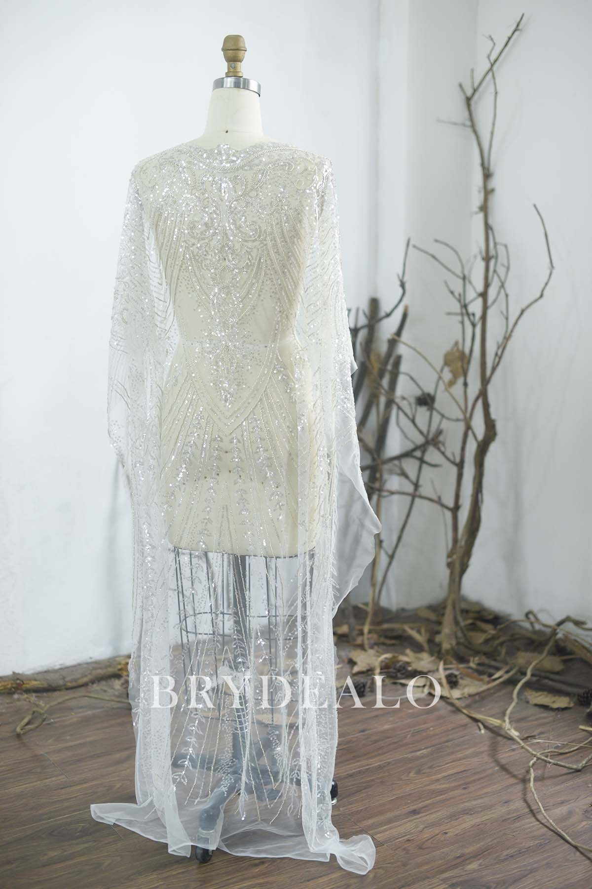 Ivory Hand Beaded Lace Geometric Fabric By The Yard Wedding Gown Bridal Dress